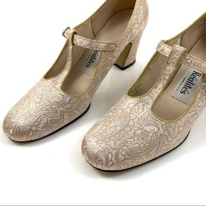 1950's metallic gold and silver lame t-strap shoes